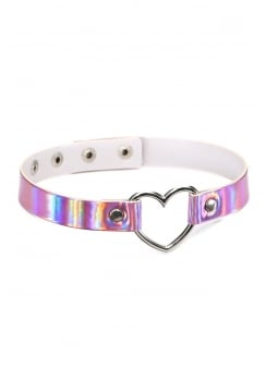 Pink Holographic Heart Ring Choker