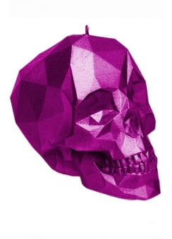 Pink Metallic Poly-Skull Candle