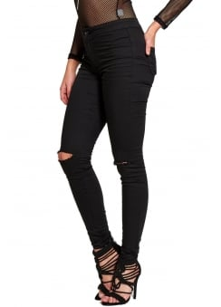 Ripped Knee High Waisted Skinny Jeans