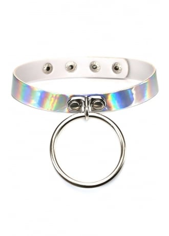 Attitude Clothing Silver Hologram Oversized O-Ring Choker