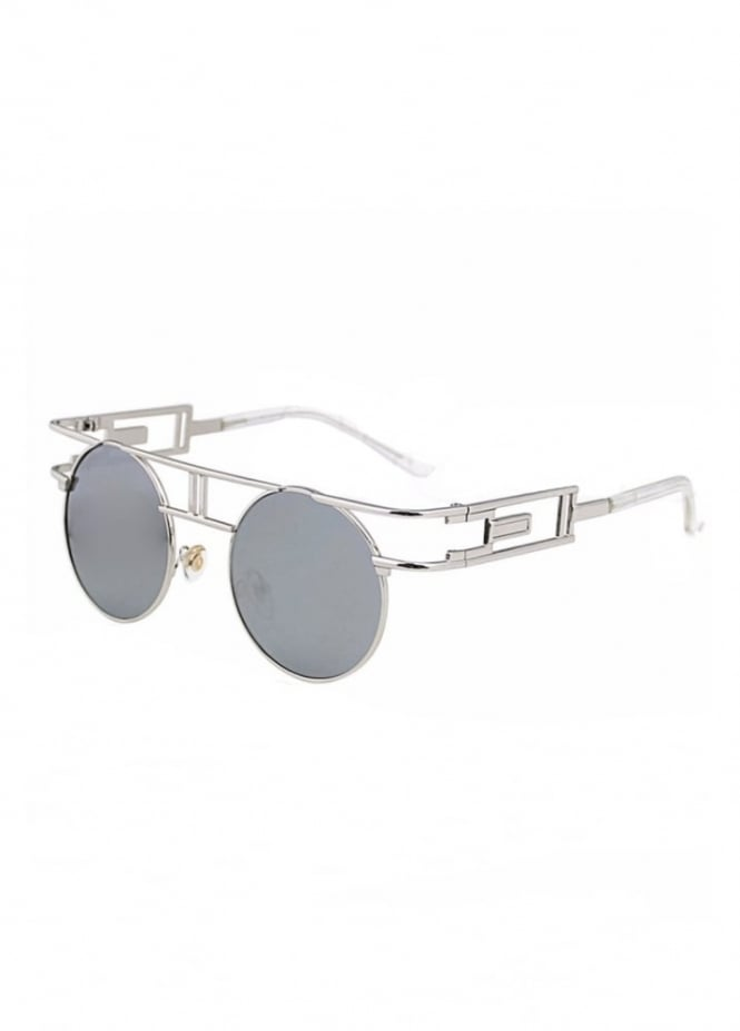 Attitude Clothing Silver Round Steampunk Sunglasses
