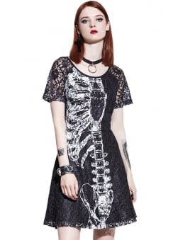 Skeleton Embroidered Lace Dress