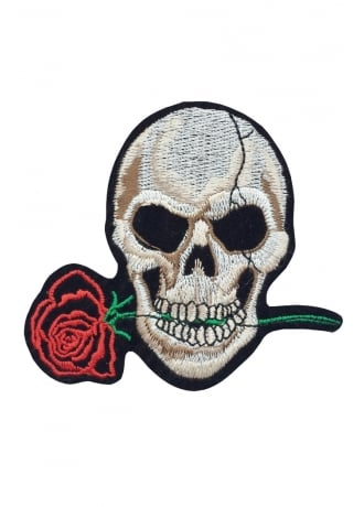 Attitude Clothing Skull & Rose Iron-On Woven Patch