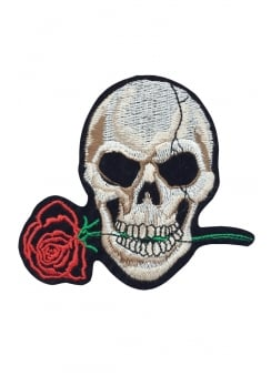 Skull & Rose Iron-On Woven Patch