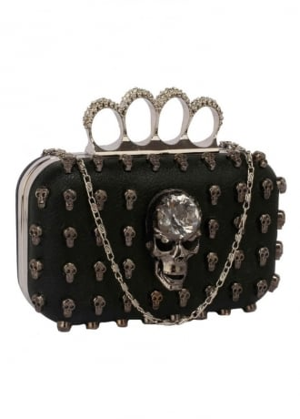 Attitude Clothing Skull Stud Knuckle Clutch Bag