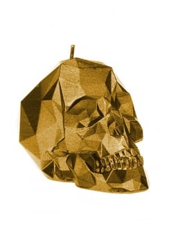 Small Gold Poly-Skull Candle