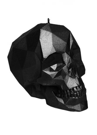 Attitude Clothing Small Metallic Black Poly-Skull Candle