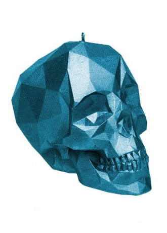 Attitude Clothing Small Metallic Blue Poly-Skull Candle