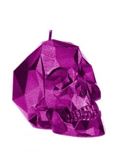 Small Metallic Pink Poly-Skull Candle