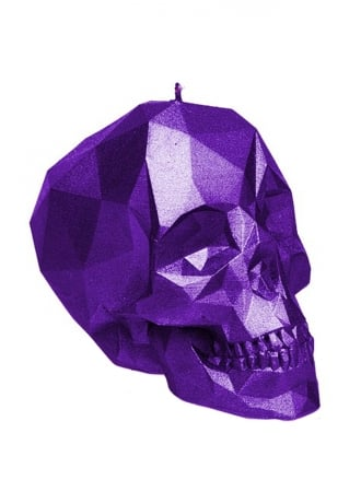 Attitude Clothing Small Metallic Violet Poly-Skull Candle
