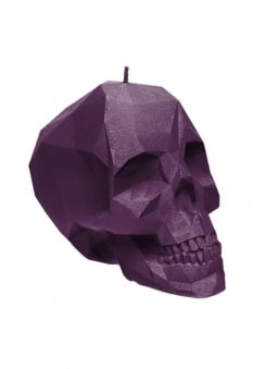 Small Violet Poly-Skull Candle