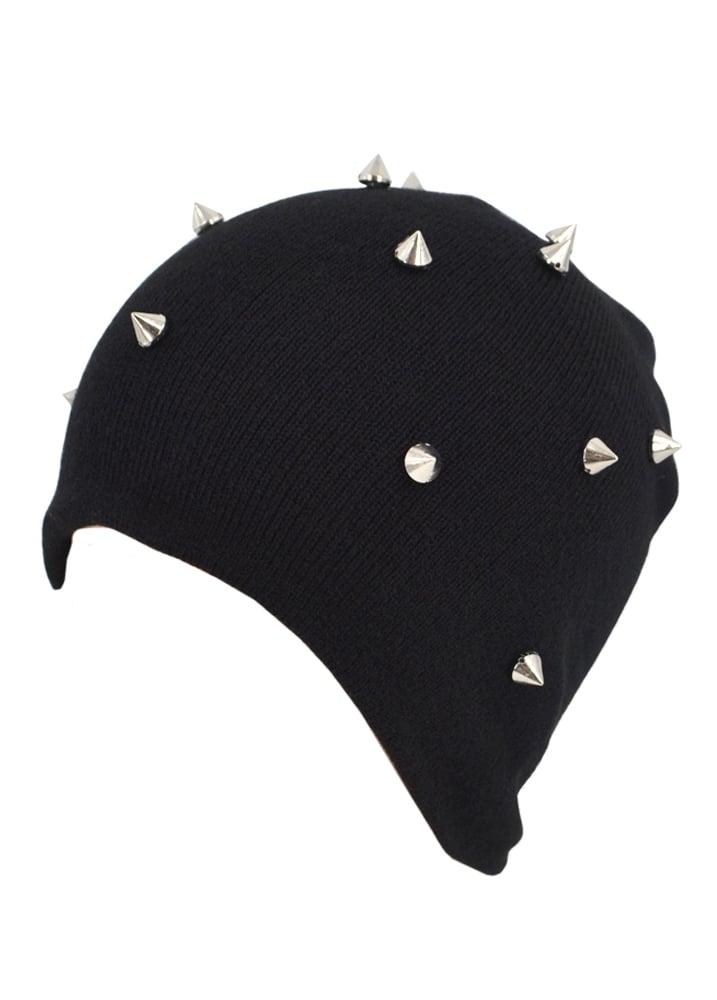 fab0449d5 Spike Rivet Stud Knit Beanie | Attitude Clothing