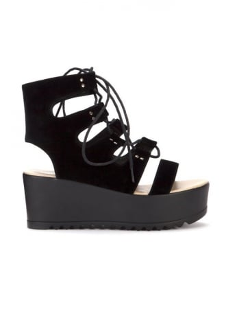 Attitude Clothing Strappy Lace Up Platform Sandal