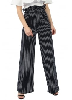 Stripe Paperbag Wide Leg Trousers