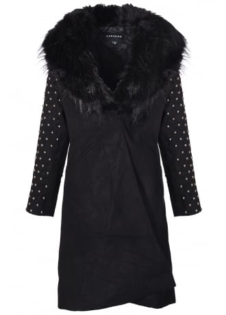 Attitude Clothing Studded Sleeve Faux Fur Long Jacket