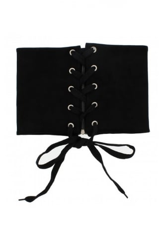 Attitude Clothing Suede Ribbon Lace Up Corset Belt