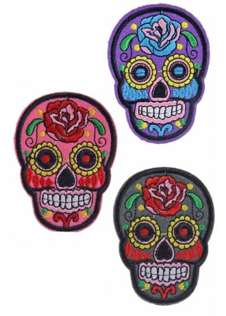Attitude Clothing Sugar Skull Iron-On Woven Patch