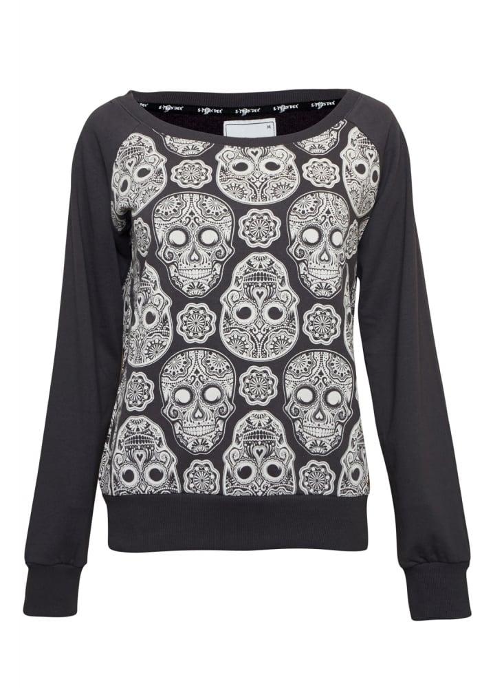 sugar skull sweatshirt attitude clothing