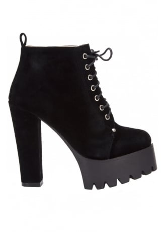 Attitude Clothing Synthetic Suede Platform Ankle Boot
