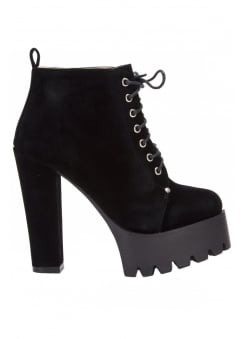 Synthetic Suede Platform Ankle Boot