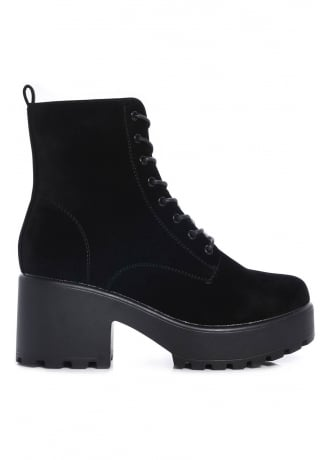 Attitude Clothing Thick Soled Lace Up Suede Boot
