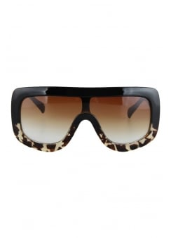 Tortoiseshell Oversized Shield Sunglasses