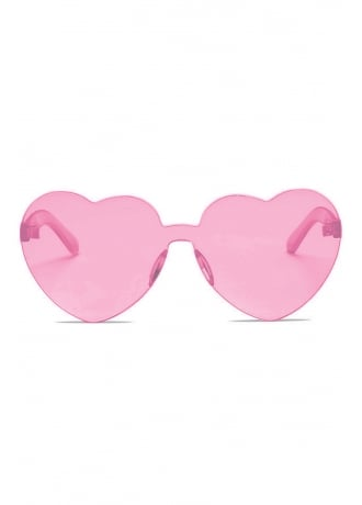 Attitude Clothing Transparent Pink Love Heart Sunglasses