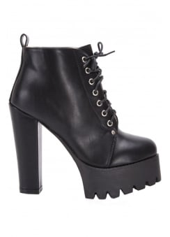 Vegan Leather Platform Ankle Boot