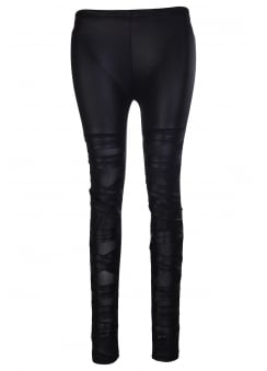 Wet Look Cut-Out Mesh Leggings