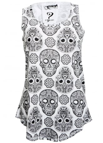 Attitude Clothing White Day of the Dead Vest