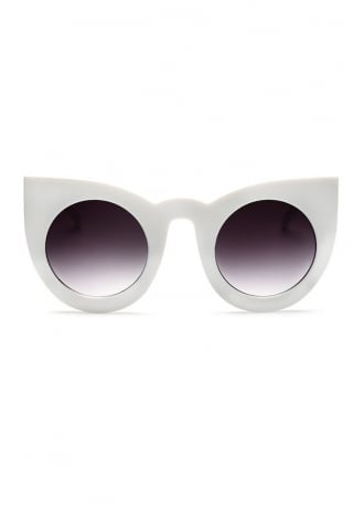 Attitude Clothing White Retro Round Oversized Cat Eye Sunglasses