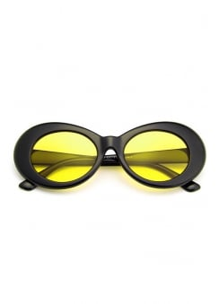 Yellow Lens Oval Sunglasses