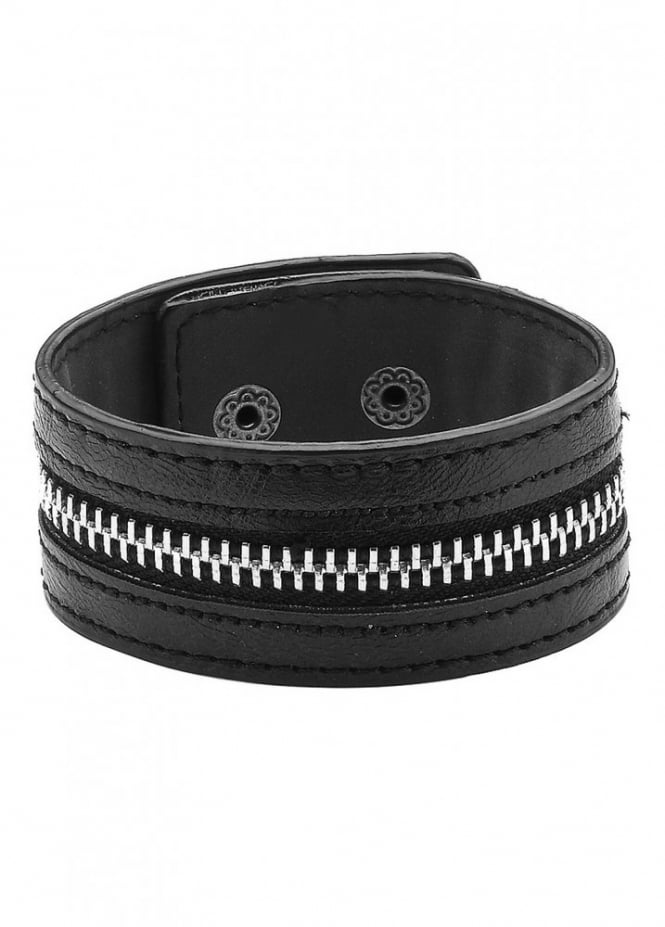 Attitude Clothing Zip Faux Leather Wristband