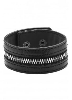 Zip Faux Leather Wristband