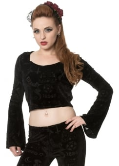 9 Lives Velvet Flare Sleeve Top