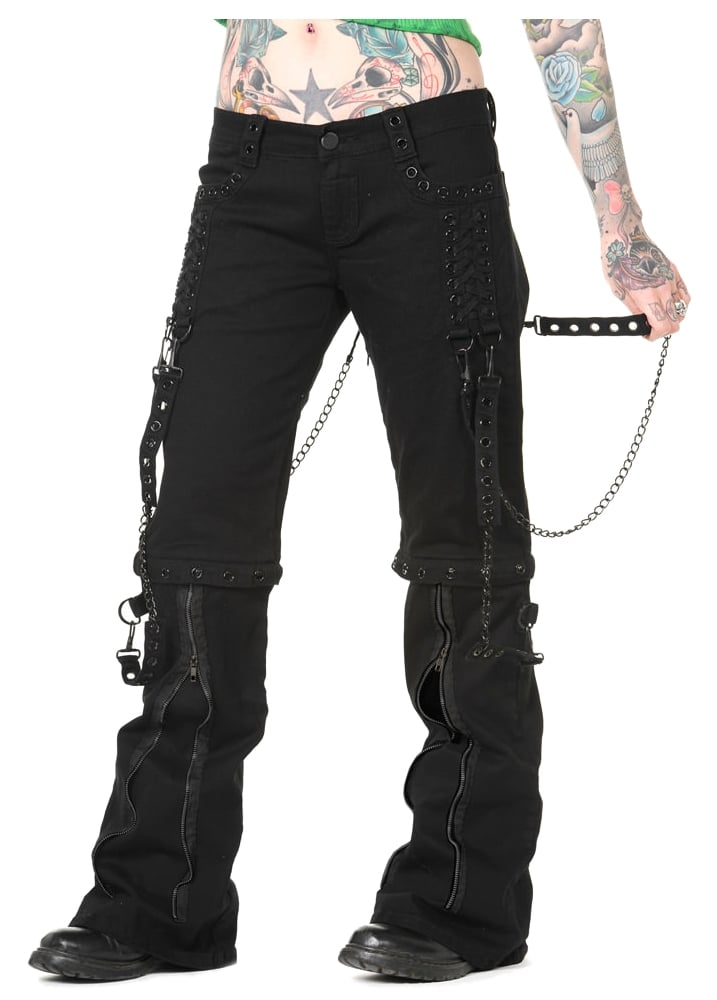 All clear, black chain bondage pants