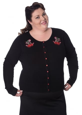 Banned Apparel Cherry Bow Plus Size Retro Cardigan