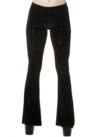 Banned Apparel Moonlight Silence Flared Gothic Trousers