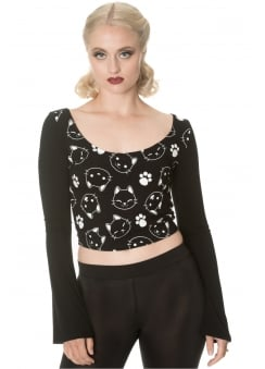 Purrrrfect Kitty Flare Sleeve Top