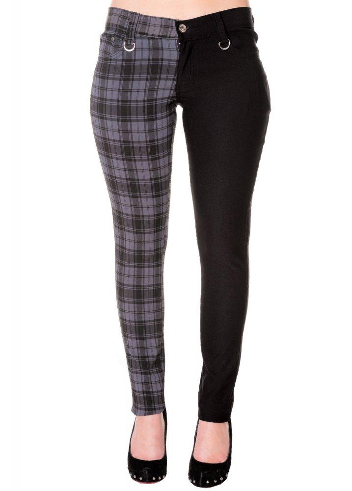 Banned Apparel Tartan Split Leg Skinny Jeans | Attitude ...