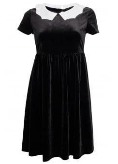 Bat Collar Velvet Dress