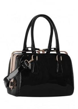 Black Metal Frame Patent Handbag