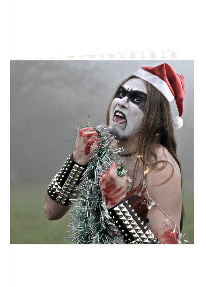 Black metal tinsel eater christmas card attitude clothing