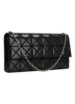 Black Patent Geometric Clutch Bag