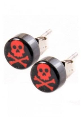 Black & Red Skull & Crossbone Stud Earrings