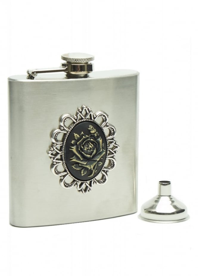 Black Rose Cameo Flask