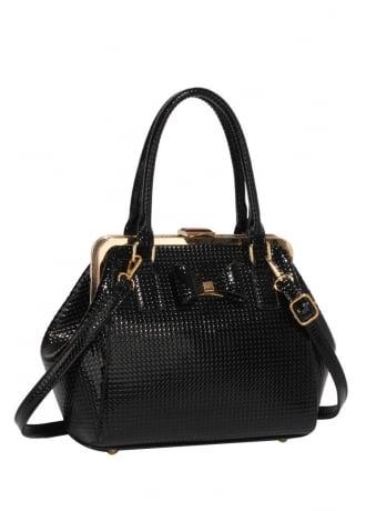 Black Textured Bow Handbag