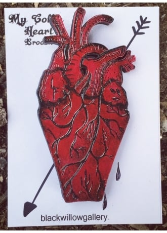 Black Willow Gallery My Heart Coffin Brooch