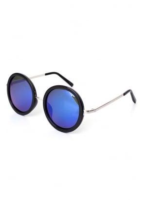 Blue Mirror Round Sunglasses