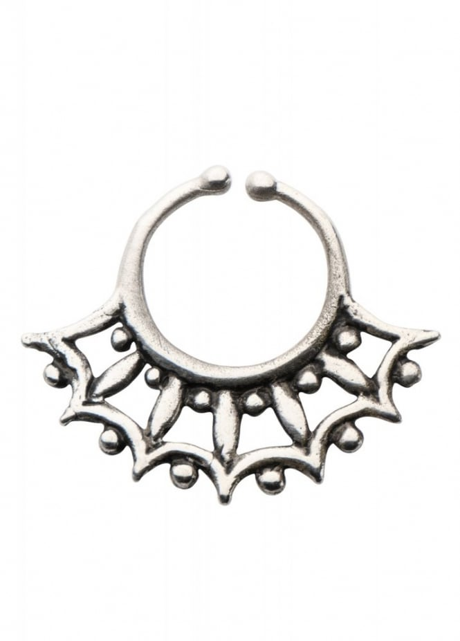 Body Vibe Aztec White Brass Faux Septum Ring